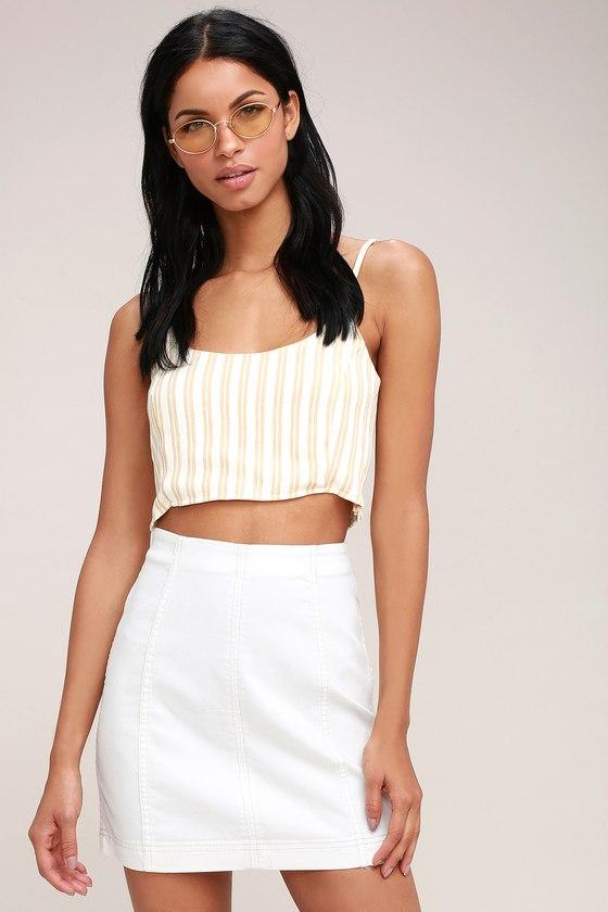 9aa21e5cecbd Free People Modern Femme - Denim Mini Skirt - White Skirt