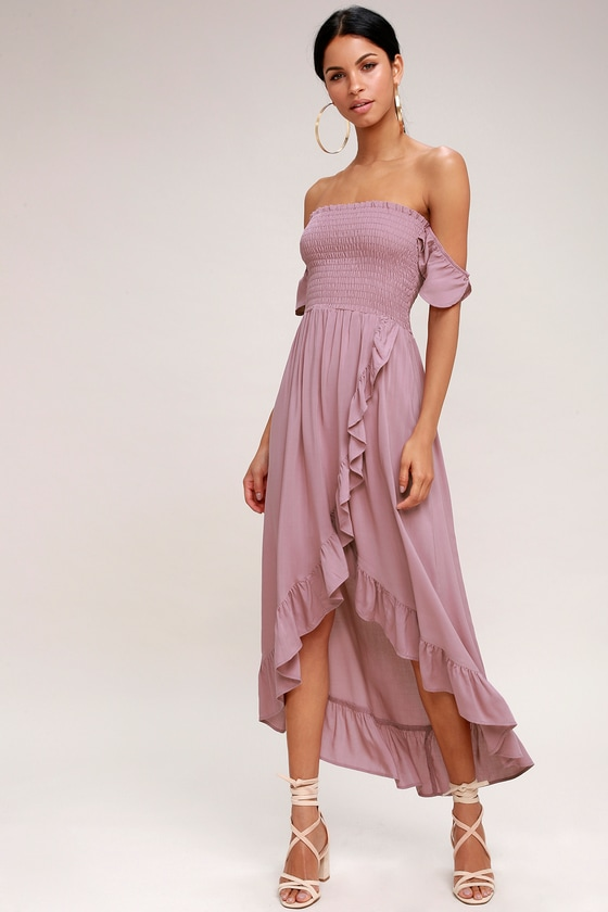 Lucy Love Wild Heart Mauve Dress Off The Shoulder Dress