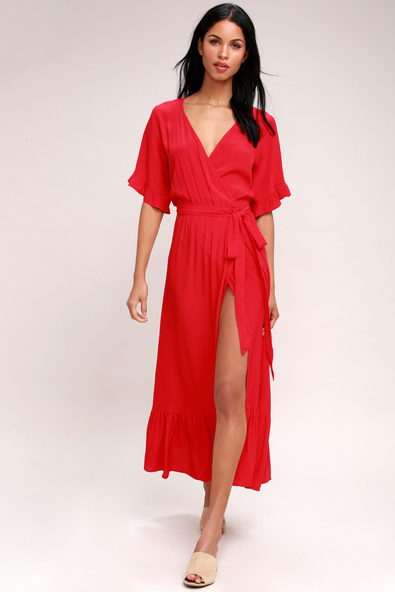 Vintage Christmas Dress | Party Dresses | Night Out Outfits Enchanted Red Midi Dress - Lulus $103.00 AT vintagedancer.com