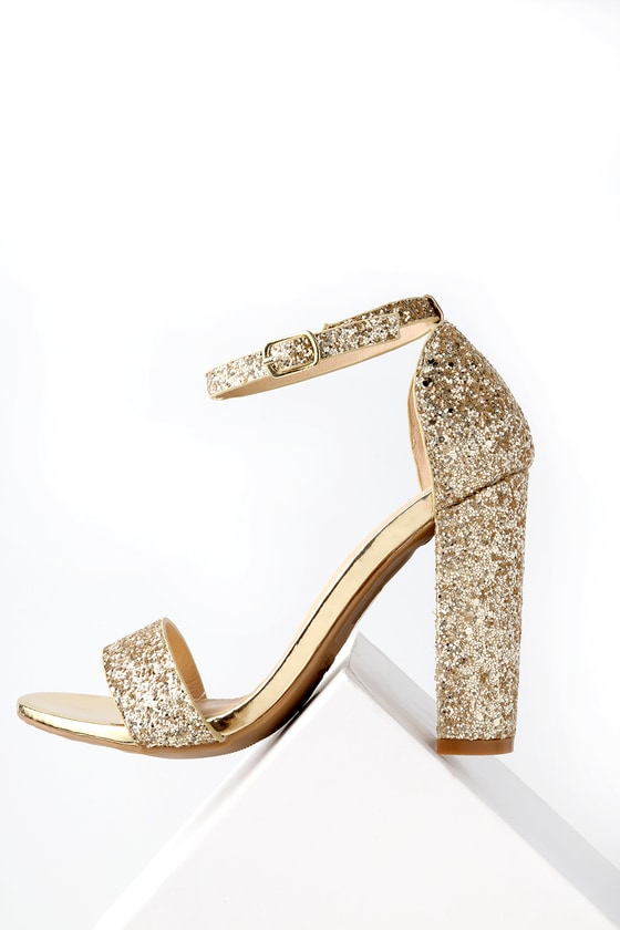 d7ae1997377 Shiny Glitter Heels - Light Gold Heels - Party Shoes
