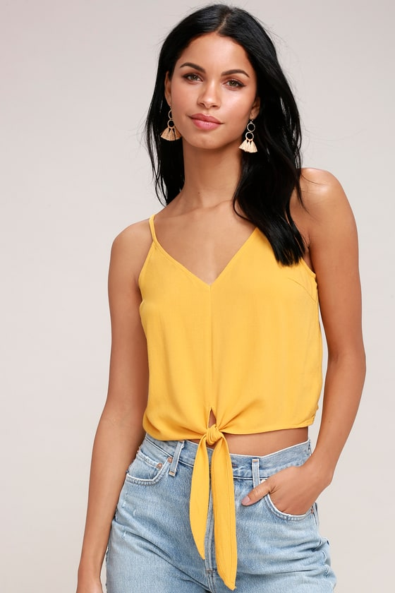 0425bff66fce4b Cute Mustard Yellow Top - Tie-Front Top - Yellow Crop Top