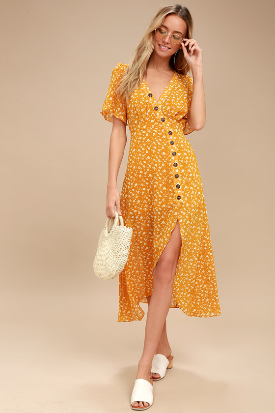 After-Bloom Delight Golden Yellow Floral Print Midi Dress