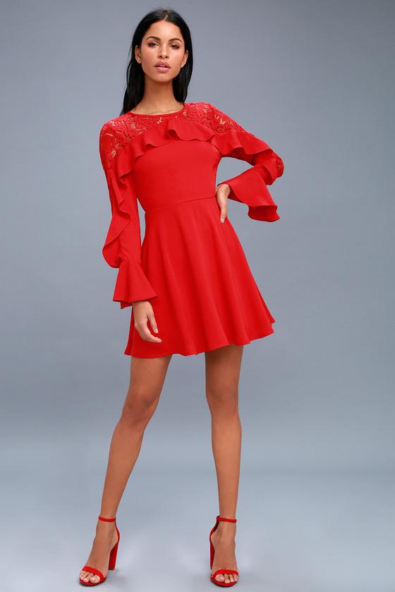 19ff23273f9 Chic Red Dress - Long Sleeve Dress - Lace Dress
