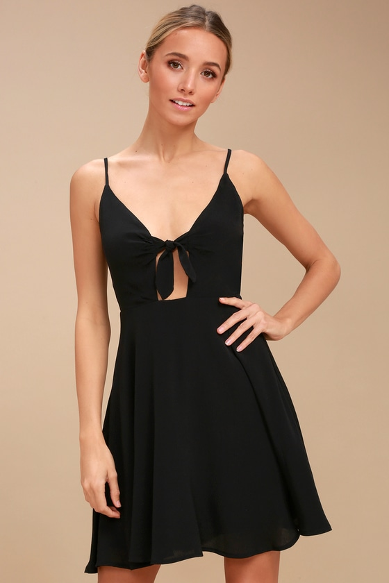 Cute Tie-Front Skater Dress - Black Skater Dress 60e1b50a7