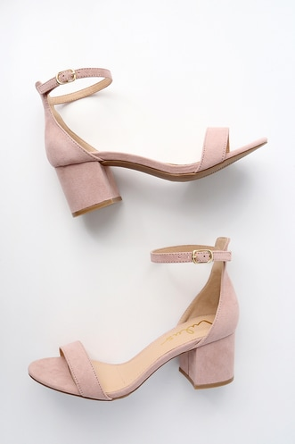 28e8eacb6d3d Harper Nude Suede Ankle Strap Heels