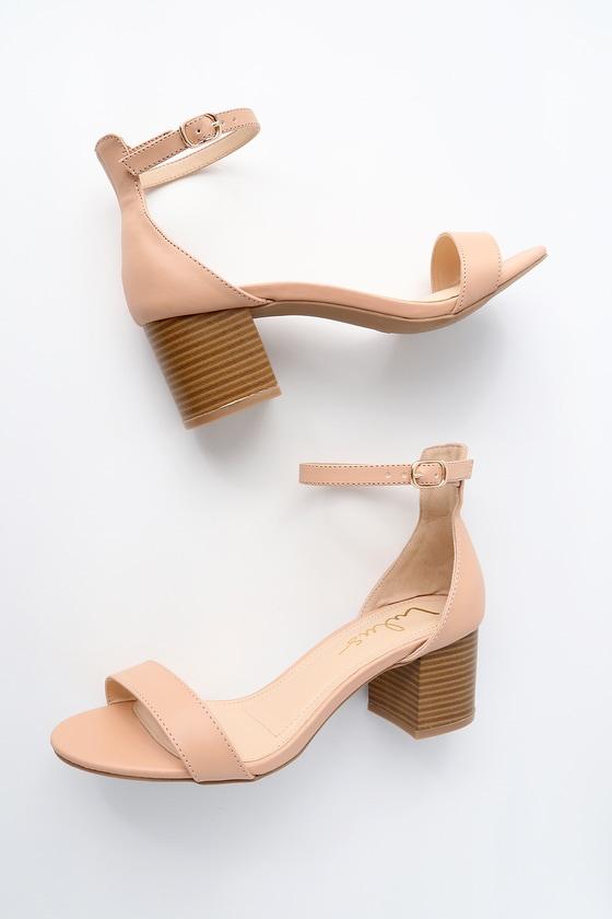 Lulus Shiloh Blush Leather Ankle Strap Heels - Lulus xTEVIwH1I