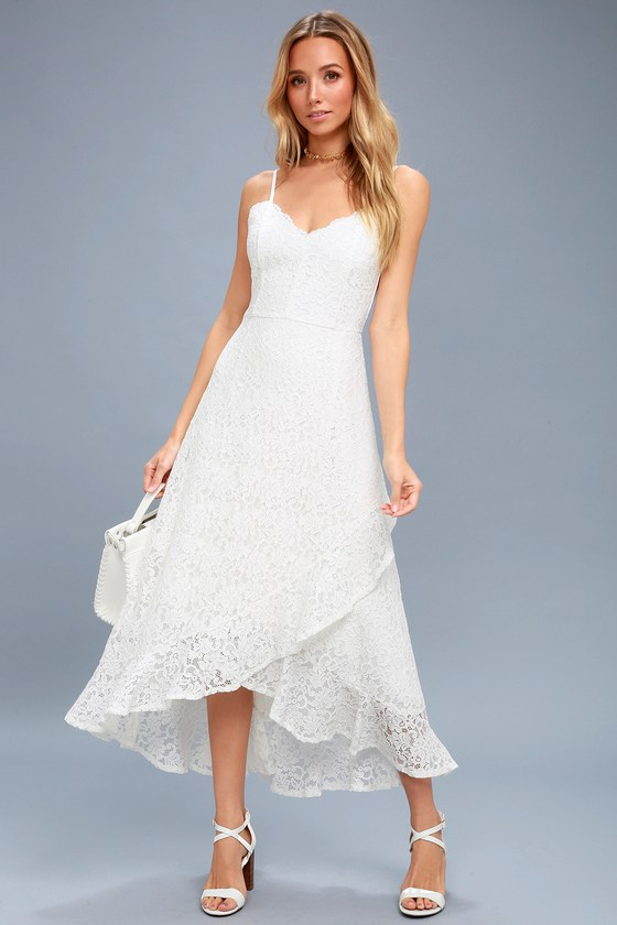 b620f4b239 Stunning Lace Midi Dress - White Lace Midi Dress