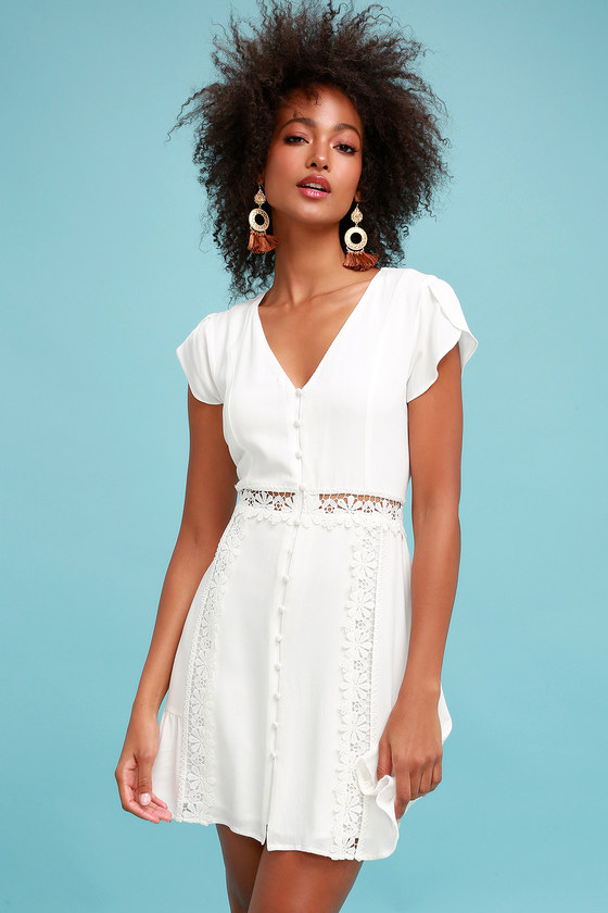 Wistful Wanderer White Crochet Lace Dress