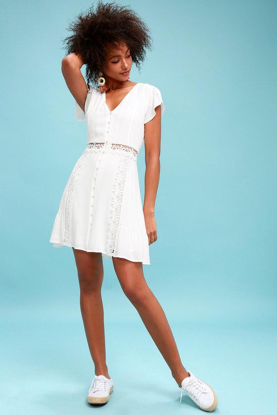 37a39ba594 Wistful Wanderer White Crochet Lace Dress