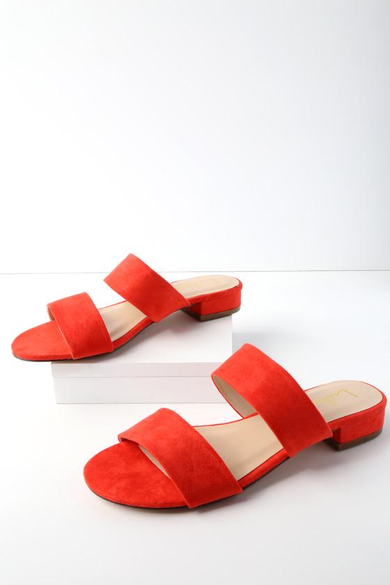 20062e4af207b Cute Slide Sandals - Red Suede Slides - Vegan Slides