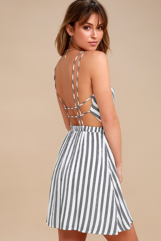 Cute White Striped Dress Backless Dress Skater Dress