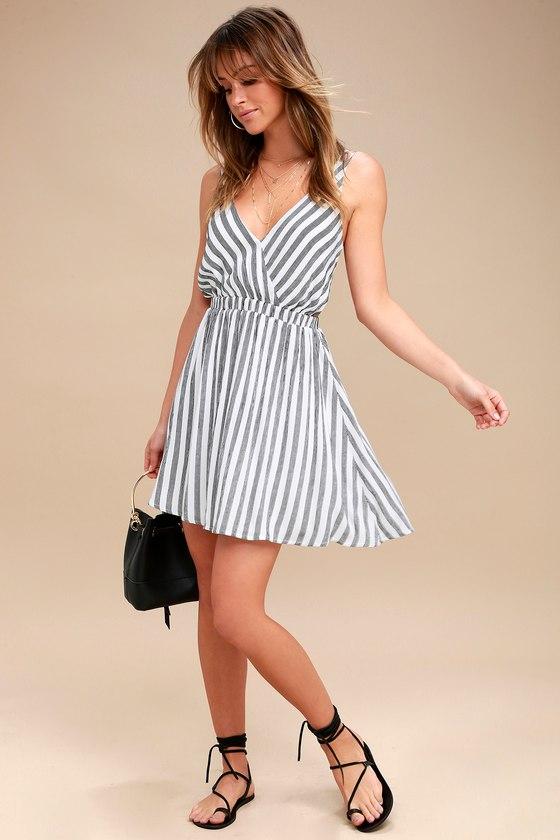 Cute White Striped Dress - Backless Dress - Skater Dress 35b505596
