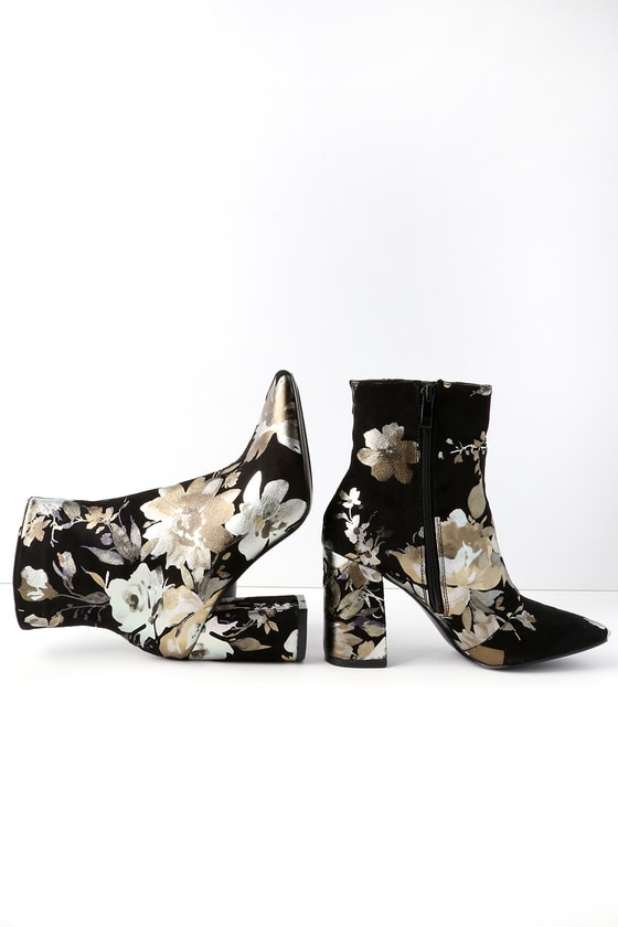 My Generation Black Floral High Heel Mid-Calf Boots
