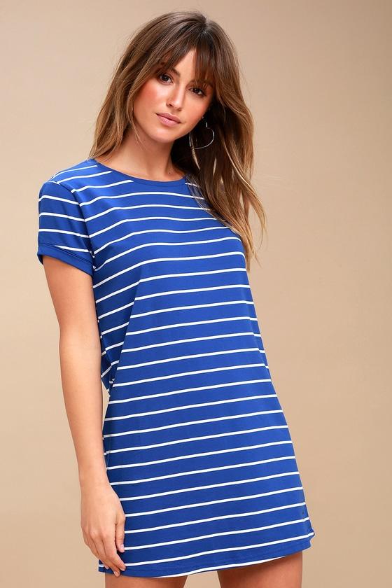 8717eb15d3 Chic Royal Blue Striped Dress - Shirt Dress - Shift Dress