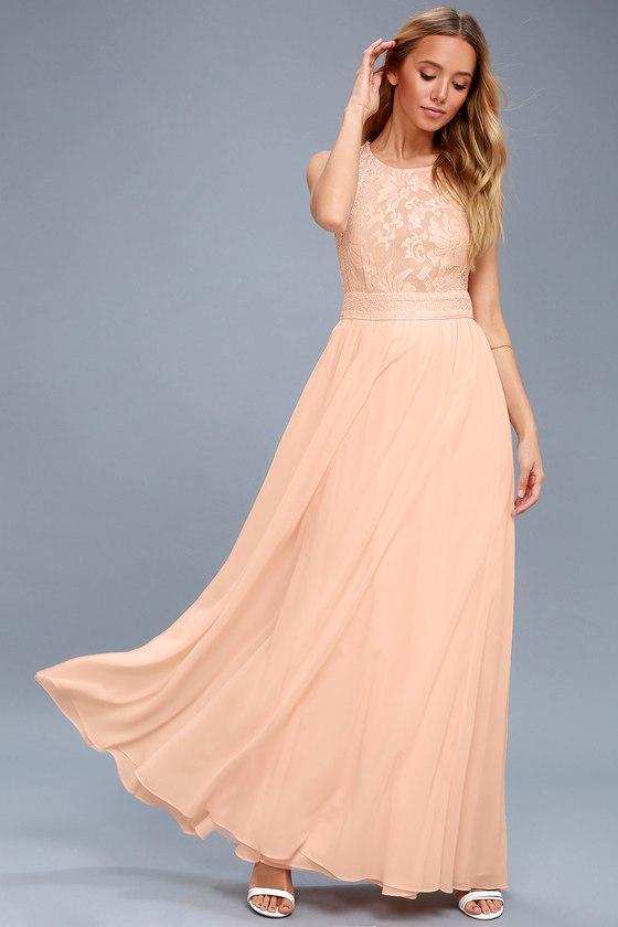 87711583f3c6 Lovely Blush Pink Dress - Lace Dress - Maxi Dress