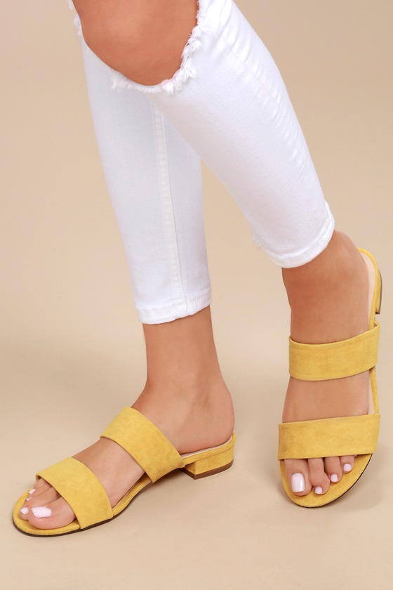c4eeaf072704 Cute Slide Sandals - Mustard Yellow Slides - Vegan Slides