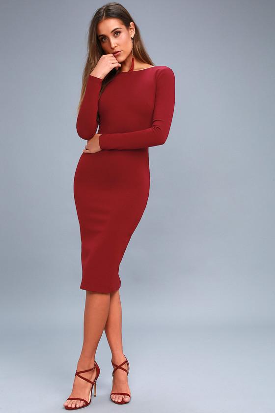 10ba8d1603c Sexy Wine Red Midi Dress - Backless Dress - Bodycon Dress -  46.00