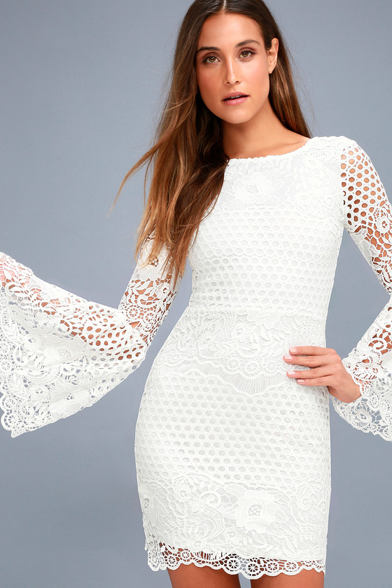 5f6982fe1c White Lace Long Sleeve Dress - Dress Nour