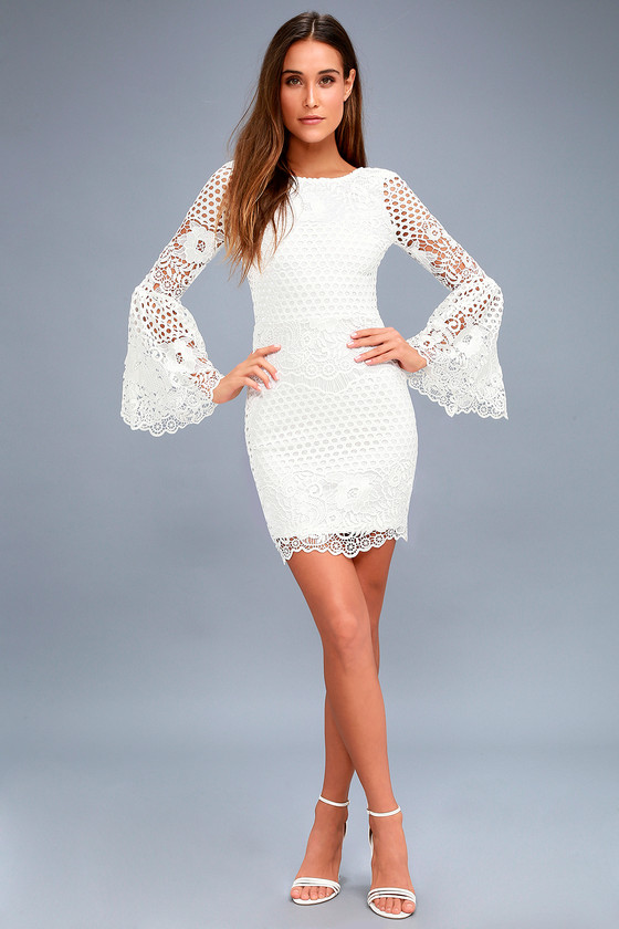 259c22dcbc7 Gorgeous White Lace Dress - Lace Flounce Sleeve Dress