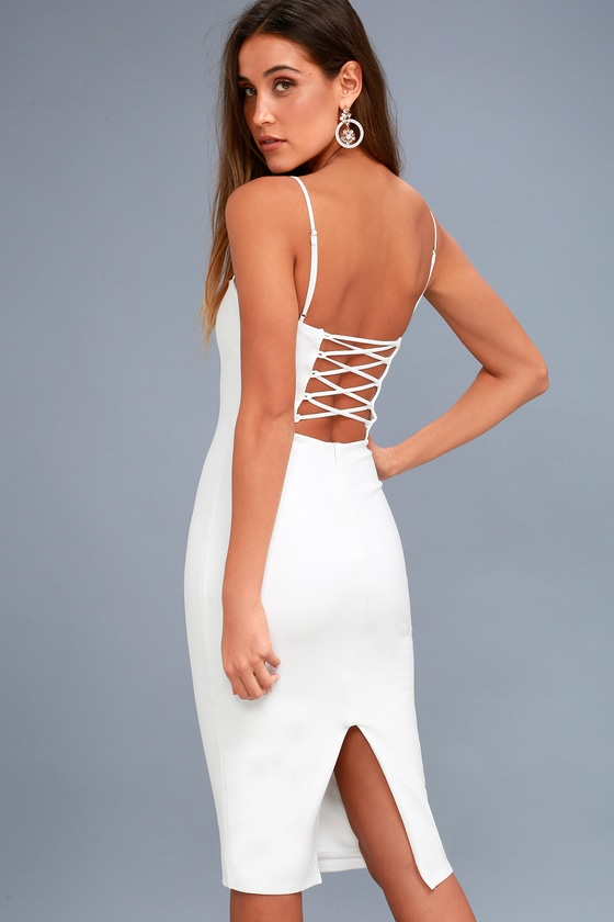 5becb3a89d3c1 Chic Bodycon Dress - Lace-Up Dress - White Dress