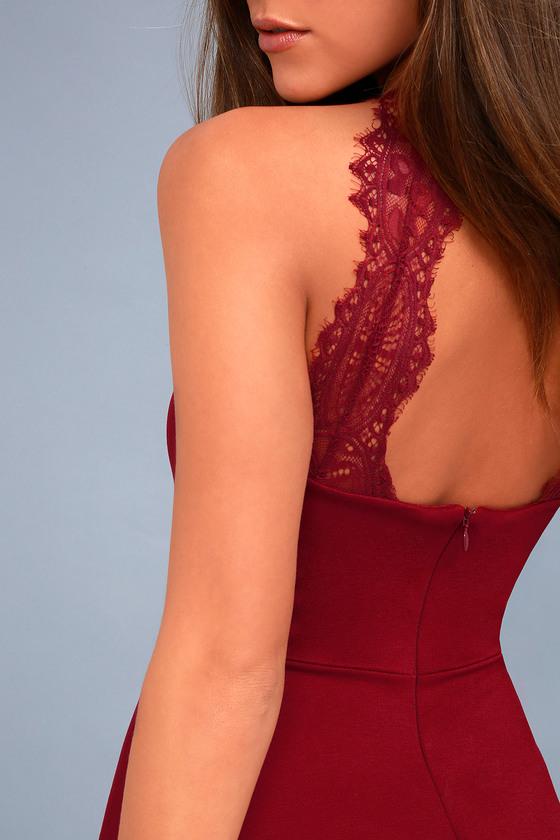 Chic Red Dress - Skater Dress - Lace Dress - Halter Dress