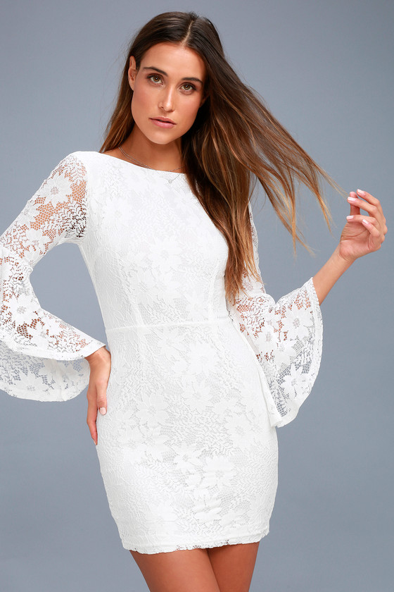 bcaf4e96501 Allure 'Em In White Lace Bell Sleeve Bodycon Dress