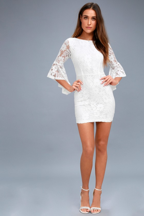 fc324ad209cb Allure 'Em In White Lace Bell Sleeve Bodycon Dress