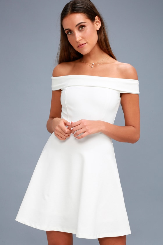 ed94a277133 Cute White Dress - Off-Shoulder Dress - LWD - Skater Dress