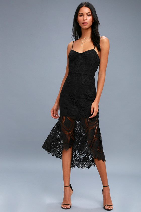 19427ee56bd Lovely Black Dress - Lace Midi Dress - Black Bodycon Dress