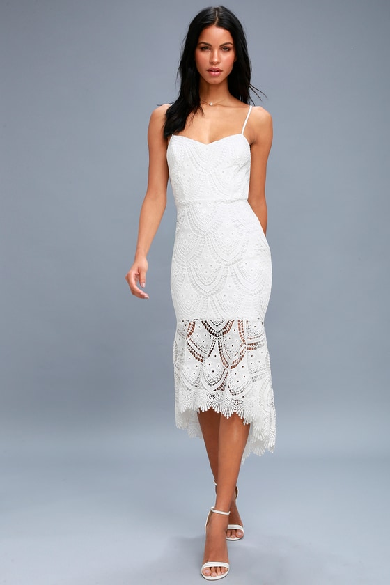 40eb1165aa Lovely White Dress - Lace Midi Dress - Bodycon Dress