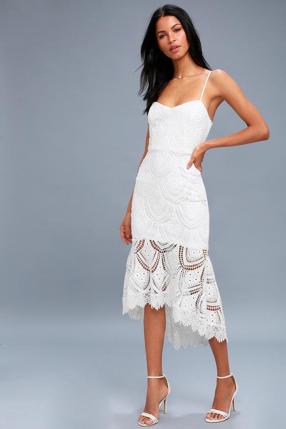 e6a7ee19517f Lovely White Dress - Lace Midi Dress - Bodycon Dress