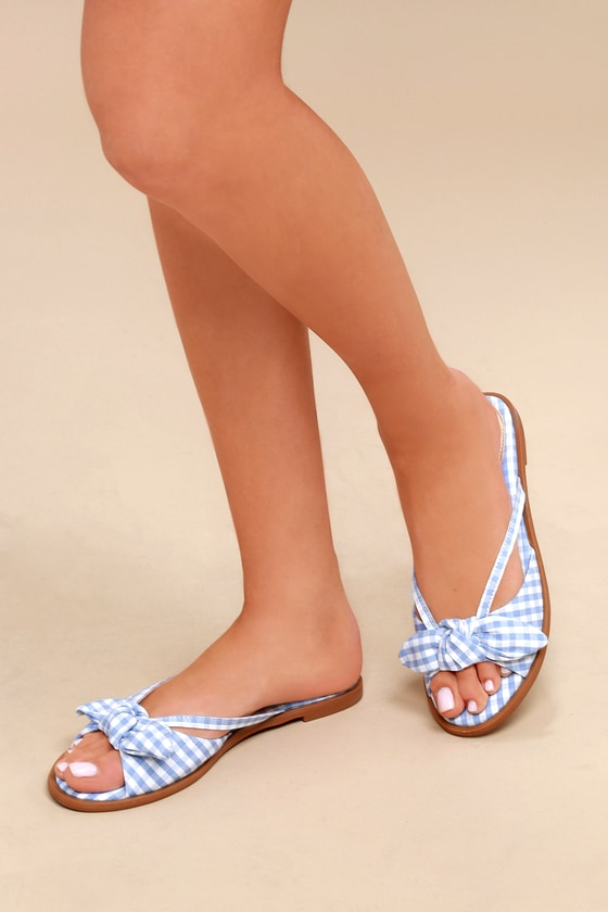 53daa698955f Chic Gingham Sandals - Light Blue Sandals - Slide Sandals
