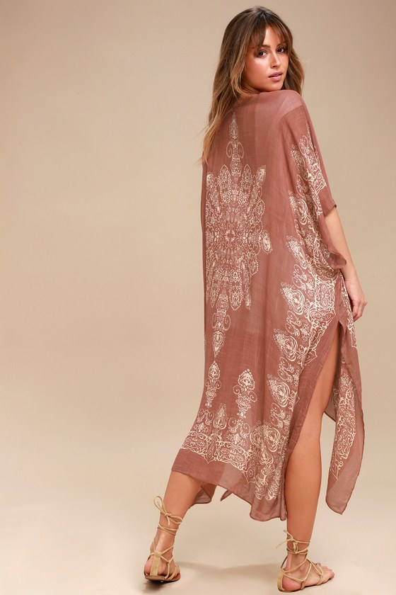 Exotic Sol Tan and Terra Cotta Print Kimono - Lulus