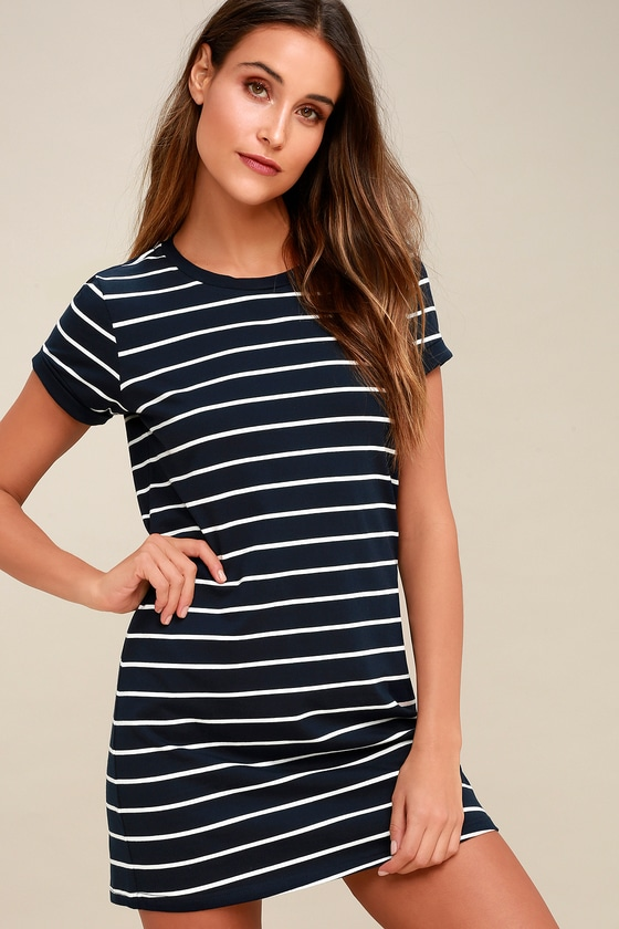 eb9b58f5d3e3 Chic Navy Blue Striped Dress - T-Shirt Dress - Shift Dress
