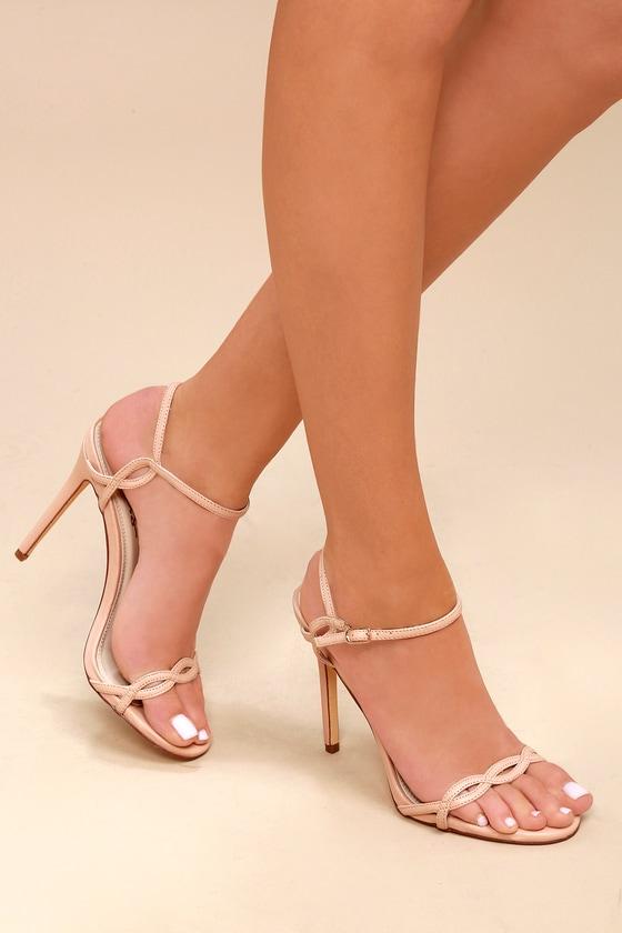 fda78679521f Cute Nude Heels - Dress Sandals - Vegan Heels