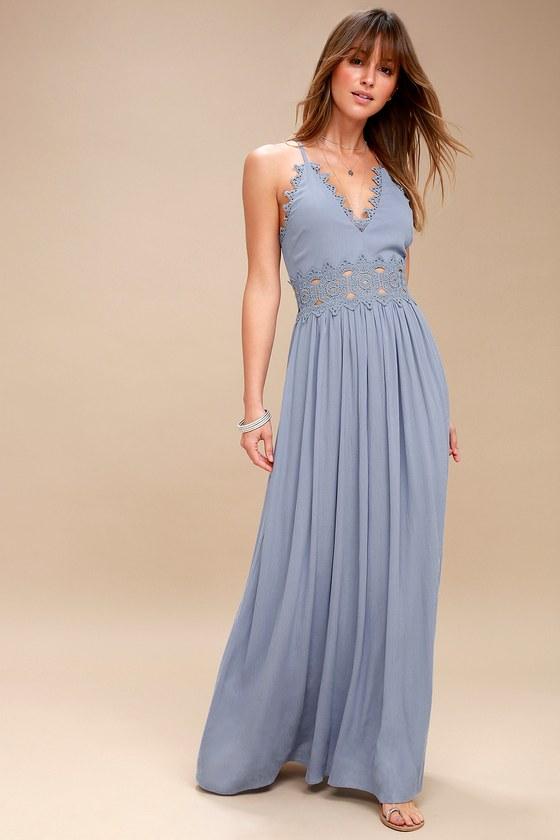 a0708b8427f Slate Blue Maxi Dress - Lace Maxi Dress - Plunge Neck Maxi