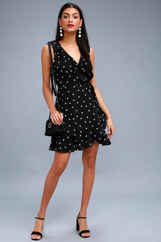 b57fad8f24a Cute Black Polka Dot Dress - Wrap Dress - Sleeveless Dress