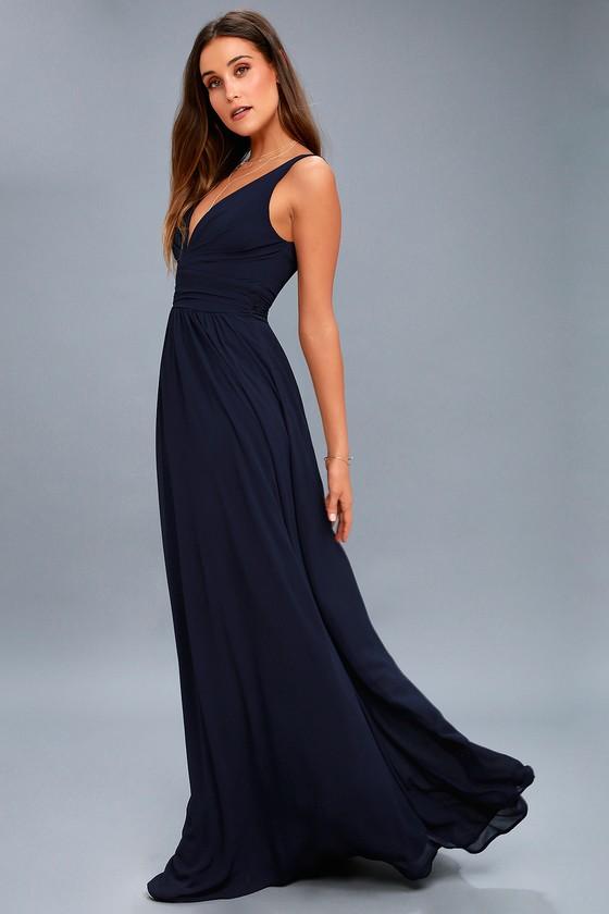 0d054cce1b Elegant Maxi Dress - Navy Blue Dress - Plunging Maxi Dress