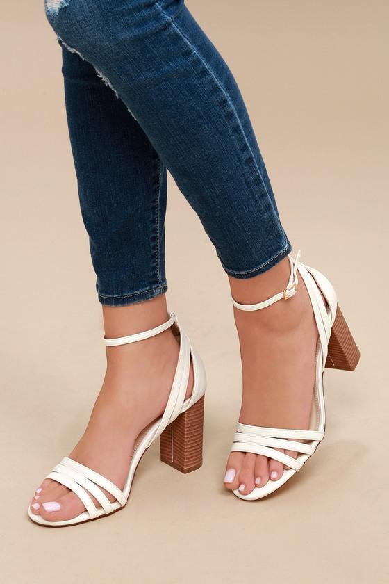f4a9c6b80130 Strappy White Heels - Vegan Suede Heels - Ankle Strap Heels