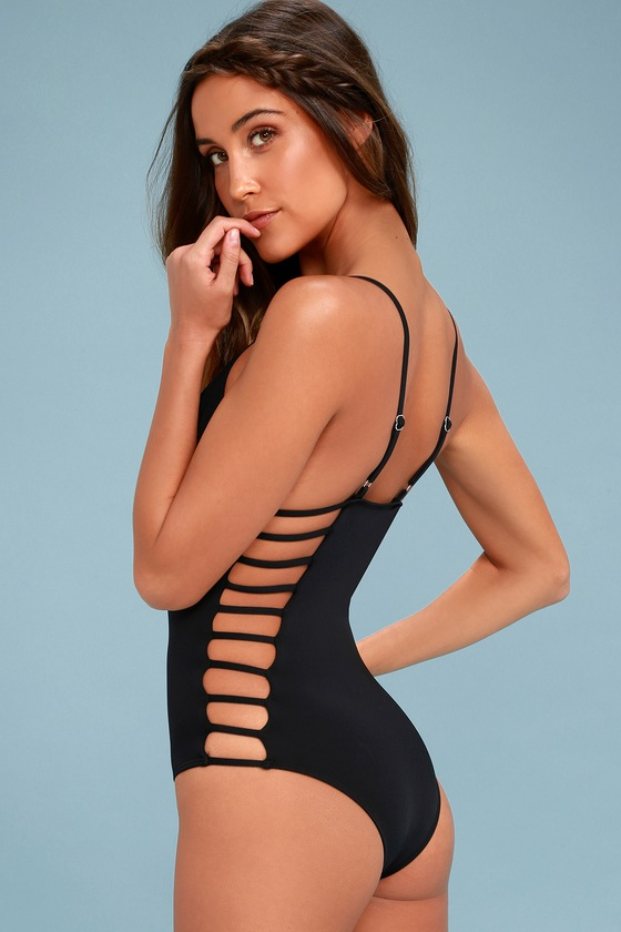 4394aada98062 Cute Black Swimsuit - One Piece Swimsuit - Cutout Swimsuit