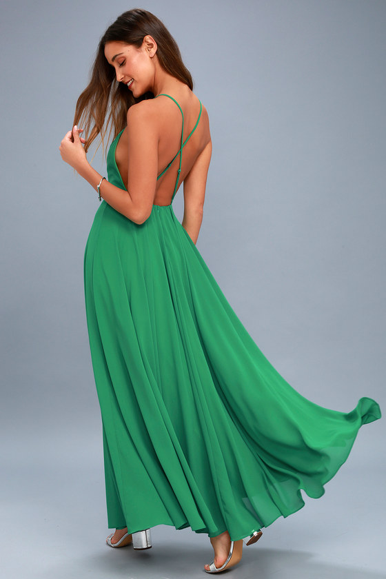 Beautiful green dress maxi dress backless maxi dress for What kind of shoes to wear with wedding dress