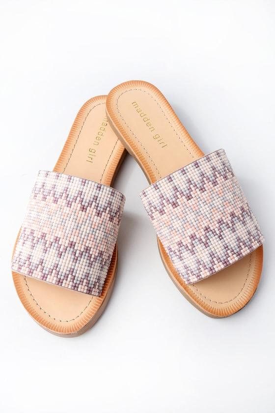 fb85616ac2d Madden Girl Luluu - Beaded Slide Sandals - Nude Sandals