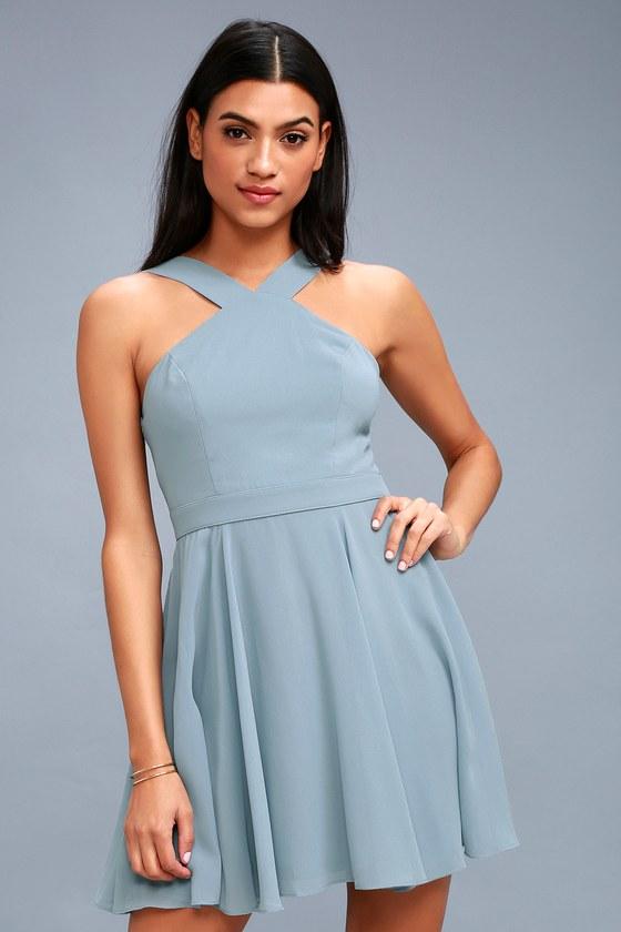 2421b808c9 Lovely Light Blue Dress - Halter Dress - Blue Skater Dress