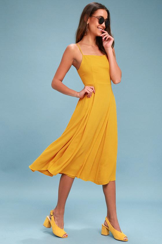 a6349f400423 Mustard Yellow Midi Dress - Sleeveless Midi Dress