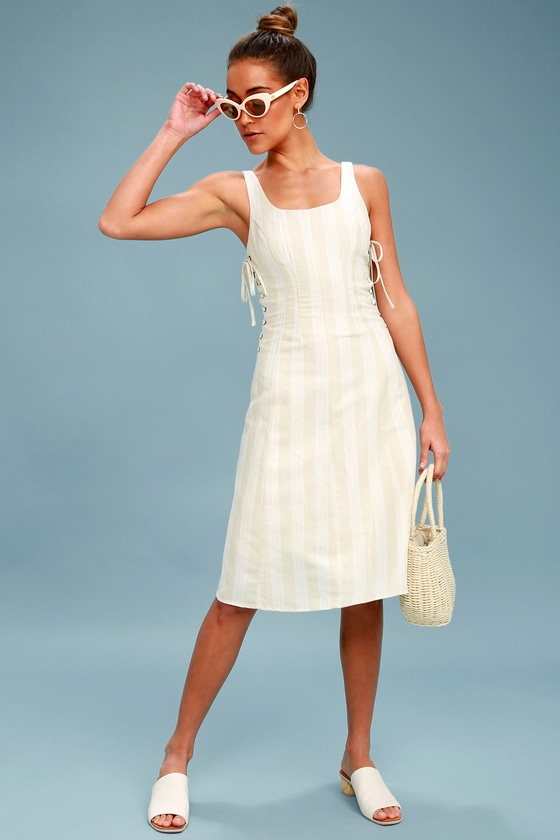 38e3d9f589c ASTR the Label Elena - Beige Striped Midi Dress