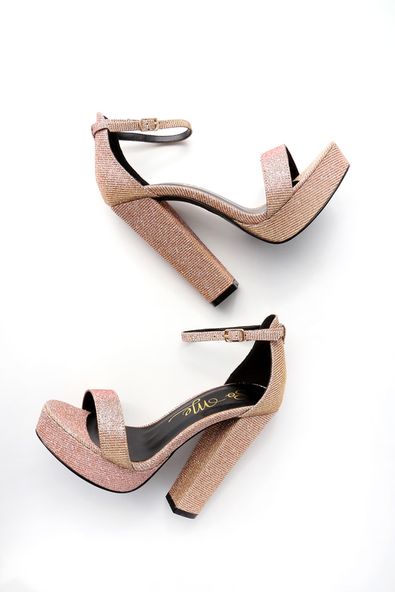 63201f05c46 Chic Rose Gold Heels - Sparkly Heels - Ankle Strap Heels