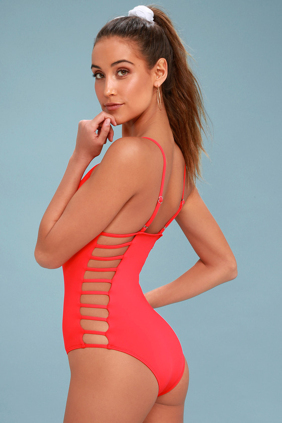 Big Island Red Strappy One Piece Swimsuit