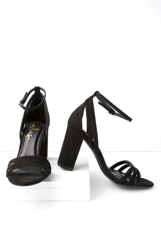 db353e5befd Strappy Black Heels - Vegan Suede Heels - Ankle Strap Heels