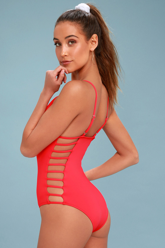 94b494be3809e Cute Red Swimsuit - One Piece Swimsuit - Cutout Swimsuit