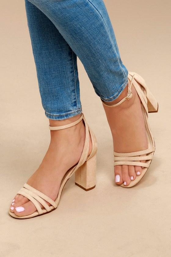 029e0c0940b Strappy Nude Heels - Vegan Suede Heels - Ankle Strap Heels